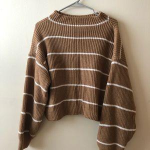 Zaful, cropped size small, striped tan sweater
